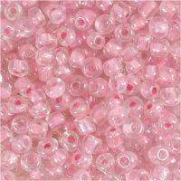 Rocaipärlor, Dia. 4 mm, stl. 6/0 , Hålstl. 0,9-1,2 mm, rosa kärna, 25 g/ 1 förp.