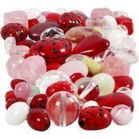 Glaspärlor, nyckelpigor, löv, hjärtan, stl. 5-22 mm, Hålstl. 0,5-1,5 mm, mixade färger, 60 g/ 1 förp.