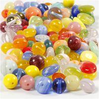 Glaspärlor, rund, oval, rund/platt, Dia. 6-13 mm, Hålstl. 0,5-1,5 mm, mixade färger, 350 g/ 1 förp.