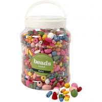Träpärlor, stl. 5-28 mm, Hålstl. 2,5-3 mm, mixade färger, 2 l/ 1 hink, 850 g