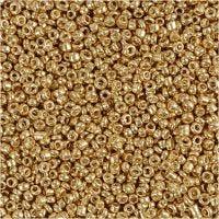 Rocaipärlor, Dia. 1,7 mm, stl. 15/0 , Hålstl. 0,5-0,8 mm, mässing, 25 g/ 1 förp.
