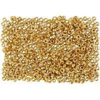 Rocaipärlor, Dia. 1,7 mm, stl. 15/0 , Hålstl. 0,5-0,8 mm, mässing, 500 g/ 1 påse