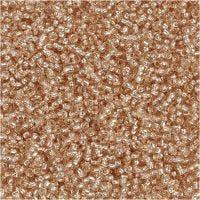 Rocaipärlor, Dia. 1,7 mm, stl. 15/0 , Hålstl. 0,5-0,8 mm, persika, 25 g/ 1 förp.