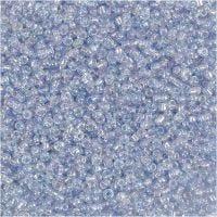Rocaipärlor, Dia. 1,7 mm, stl. 15/0 , Hålstl. 0,5-0,8 mm, ljusblå, 500 g/ 1 påse