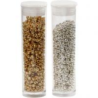 Rocaipärlor, Dia. 1,7 mm, stl. 15/0 , Hålstl. 0,5-0,8 mm, guld, silver, 2x7 g/ 1 förp.