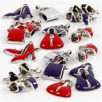 Charms med ögla, stl. 12-20 mm, Hålstl. 1-3 mm, svart, lila, röd, försilvrad, 20 mix./ 1 förp.