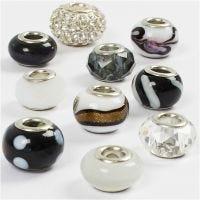 Glas links - harmoni, Dia. 13-15 mm, Hålstl. 4,5-5 mm, svart/vit harmoni, 10 mix./ 1 förp.