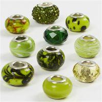 Glas links - harmoni, Dia. 13-15 mm, Hålstl. 4,5-5 mm, grön, 10 mix./ 1 förp.