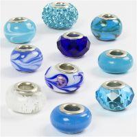 Glas links - harmoni, Dia. 13-15 mm, Hålstl. 4,5-5 mm, blå harmoni, 10 mix./ 1 förp.
