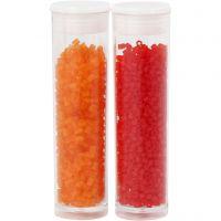 2-cut, Dia. 1,7 mm, stl. 15/0 , Hålstl. 0,5 mm, transparent orange, transparent röd, 2x7 g/ 1 förp.
