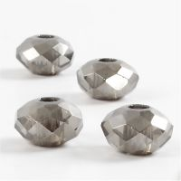 Glaslinks, stl. 9x14 mm, Hålstl. 4 mm, mörkgrå, 4 st./ 1 förp.
