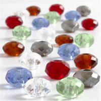 Glaslinks, stl. 9x14 mm, Hålstl. 4 mm, mixade färger, 24 mix./ 1 förp.