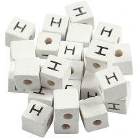 Bokstavspärlor, H, stl. 8x8 mm, Hålstl. 3 mm, vit, 25 st./ 1 förp.