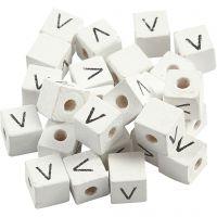 Bokstavspärlor, V, stl. 8x8 mm, Hålstl. 3 mm, vit, 25 st./ 1 förp.