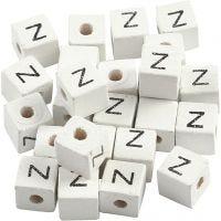 Bokstavspärlor, Z, stl. 8x8 mm, Hålstl. 3 mm, vit, 25 st./ 1 förp.