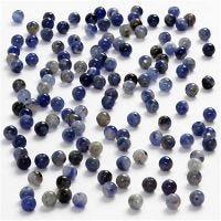 Äkta stenar, Dia. 3 mm, Hålstl. 0,5-0,7 mm, blå, 120 st./ 1 förp.