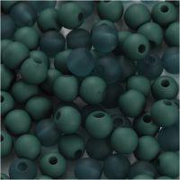Plastpärlor, Dia. 6 mm, Hålstl. 2 mm, flaskgrön, 40 g/ 1 förp.