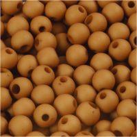Plastpärlor, Dia. 6 mm, Hålstl. 2 mm, brun, 40 g/ 1 förp.