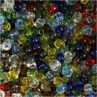 Rocaipärlor, Dia. 4 mm, stl. 6/0 , Hålstl. 0,9-1,2 mm, Blank transparent, 1000 g/ 1 förp.