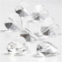 Kristallpärlor, hjärtformade, stl. 14 mm, Hålstl. 1 mm, Blank transparent, 30 st./ 1 förp.