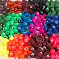 Link Beads, stl. 8x10 mm, Hålstl. 5 mm, mixade färger, 20x21 g/ 1 förp.