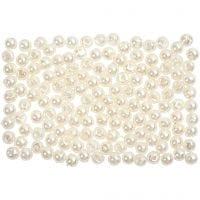 Vaxpärlor, Dia. 3 mm, Hålstl. 0,7 mm, pärlemor, 150 st./ 1 förp.