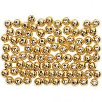 Vaxpärlor, Dia. 4 mm, Hålstl. 0,7 mm, guld, 150 st./ 1 förp.