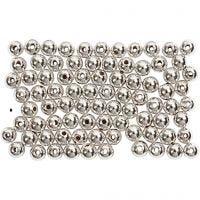 Vaxpärlor, Dia. 4 mm, Hålstl. 0,7 mm, silver, 150 st./ 1 förp.