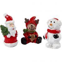 Minifigurer, jultomte, ren och snögubbe, H: 35 mm, L: 10 mm, 3 st./ 1 förp.