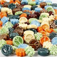 Keramikpärlor, stl. 7x15 mm, Hålstl. 2 mm, Innehållet kan variera , mixade färger, 224 st./ 1 förp.