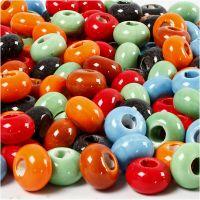 Keramik Link, Dia. 15 mm, Hålstl. 5,5 mm, Innehållet kan variera , mixade färger, 300 st./ 1 förp.