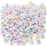 Bokstavspärlor, stl. 7 mm, Hålstl. 1,2 mm, vit, 200 g/ 1 förp.