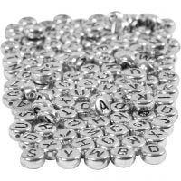 Bokstavspärlor, Dia. 7 mm, Hålstl. 1,2 mm, silver, 165 g/ 1 förp.