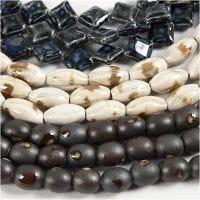 Pottery Beads, L: 12-19 mm, Hålstl. 2 mm, blå, gråbeige, råvit, 99 st./ 1 förp.