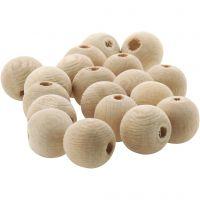 Träpärlor, Dia. 10 mm, Hålstl. 3 mm, 500 st./ 1 förp.