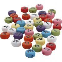 Runda bokstavspärlor, Dia. 7 mm, Hålstl. 1-2 mm, mixade färger, 25 g/ 1 förp.