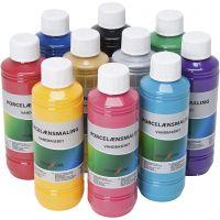 Porslinsfärg, mixade färger, 10x250 ml/ 1 förp.