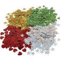 Julpaljetter, stl. 14-16 mm, 4x20 g/ 1 förp.