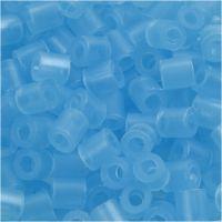 Rörpärlor, stl. 5x5 mm, Hålstl. 2,5 mm, medium, neonblå (32235), 1100 st./ 1 förp.