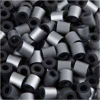 Rörpärlor, stl. 5x5 mm, Hålstl. 2,5 mm, medium, silver (32262), 1100 st./ 1 förp.