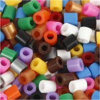 Rörpärlor med slits, stl. 5x5 mm, Hålstl. 2,5 mm, medium, standardfärger, 1100 mix./ 1 förp.