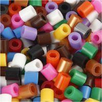 Rörpärlor med slits, stl. 5x5 mm, Hålstl. 2,5 mm, medium, standardfärger, 6000 mix./ 1 förp.