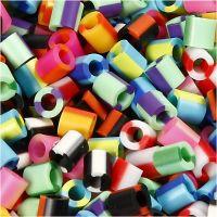 Rörpärlor, stl. 5x5 mm, Hålstl. 2,5 mm, medium, ränder, 1100 mix./ 1 förp.