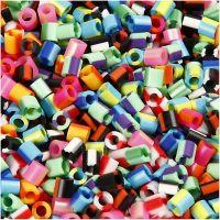 Rörpärlor, stl. 5x5 mm, Hålstl. 2,5 mm, medium, ränder, 10000 mix./ 1 förp.