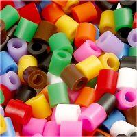 Rörpärlor, stl. 5x5 mm, Hålstl. 2,5 mm, medium, standardfärger, 20000 mix./ 1 hink