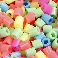 Rörpärlor, stl. 5x5 mm, Hålstl. 2,5 mm, medium, pastellfärger, 30000 mix./ 1 förp.