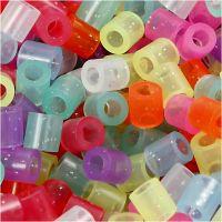 Rörpärlor, stl. 5x5 mm, Hålstl. 2,5 mm, medium, glitter färger, 1100 mix./ 1 förp.