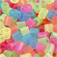 Rörpärlor, stl. 5x5 mm, Hålstl. 2,5 mm, medium, neonfärger, 30000 mix./ 1 förp.