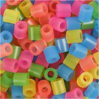 Rörpärlor, stl. 5x5 mm, Hålstl. 2,5 mm, medium, neonfärger, 1100 mix./ 1 förp.