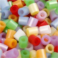 Rörpärlor, stl. 5x5 mm, Hålstl. 2,5 mm, medium, pärlemorsfärger, 5000 mix./ 1 hink